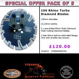 150mm D Pack of 5 Rhino Turbo Granite Prianha Diamond Blade