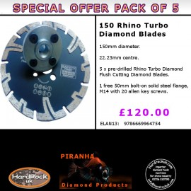 150mm D Pack of 5 Rhino Turbo Granite Prianha Diamond Blade