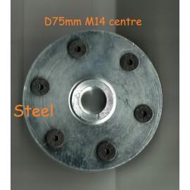 solide en acier M14 boulon sur la lame brides 50mm D M14 Bolt sur de solides brides de lame en acier-75mm Diamètre avec vis à tête fraisée 6x