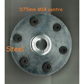 solid steel M14 bolt on blade flanges M14 Bolt on solid steel blade flanges-75mm Diameter with 6x countersunk screws
