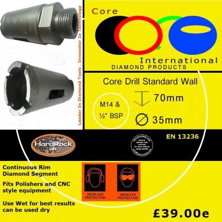 CORE DRILL 35 D STD WALL GRANITE CROWNED