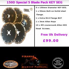 150D KEYSEG Black Piranha Diamond Blade Pack of 5