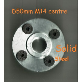 Blade flanges solid steel M14 bolt on M14 Bolt on solid steel blade flanges-50mm Diameter with 4x countersunk screws