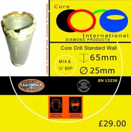 CORE DRILL 25 D STD WALL GRANITE CROWNED