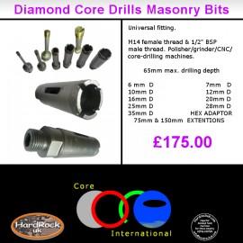 10 piece core drills set - kit bits 6mm to 35mm