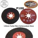 P100 125 Spiral Fibre carborundum Discs BOX x 10
