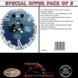 125mm D Pack of 5 Rhino Turbo Granite Prianha Diamond Blade
