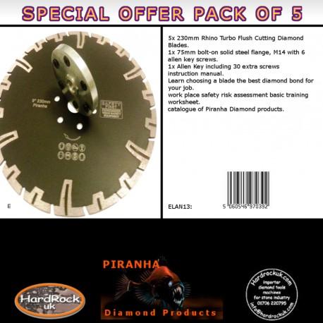 230mm D Pack of 5 Rhino Turbo Piranha Diamond Blade