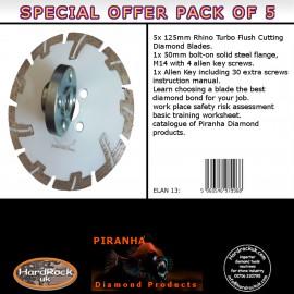 """125mm D 5"""" WHITE Rhino Turbo Prianha Diamond Blade Stone & Granite Pack of 5"""