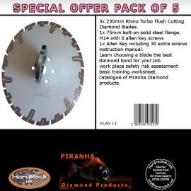 """230mm D 9"""" WHITE Rhino Turbo Prianha Diamond Blade Stone & Granite Pack of 5"""