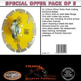 125mm D Pack of 5 orange Amber Rhino Turbo Granite Prianha Diamond Blade pack of 5