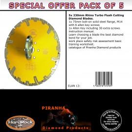 230mm D Pack of 5 Rhino Turbo Piranha Diamond Blade Orange Amber