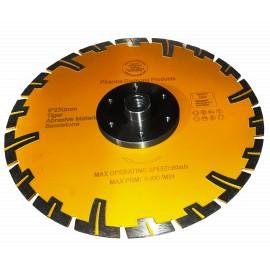 "230mm D 9"" Amber rhino prianha diamond blade 22 23 centre & 6x flange holes"