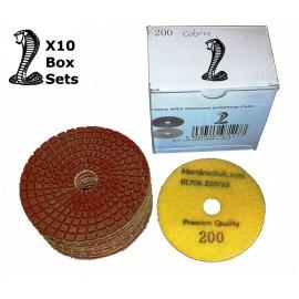 10x wet Cobra Diamond Polishing pads 200 grit only
